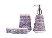 Accesorios de cerámica hermosos del cuarto de baño aislados Imagen de archivo libre de regalías