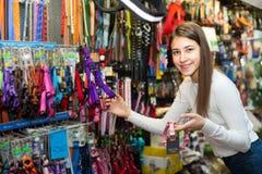 Accesorios de compra del cliente para el animal doméstico Fotografía de archivo libre de regalías