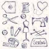Accesorios de costura ilustración del vector