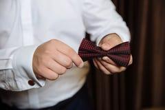 Accesorios de la boda Corbata de lazo de Brown en las manos del novio Imagen de archivo