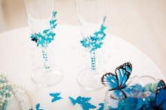 Accesorios de la boda, stemware Fotografía de archivo