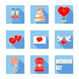 Accesorios de la ceremonia de boda Sistema plano del icono del vector Foto de archivo