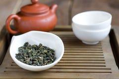 Accesorios de la ceremonia de té del chino tradicional Fotografía de archivo