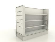 Accesorios de la exhibición con la pared y los estantes del listón Fotografía de archivo libre de regalías