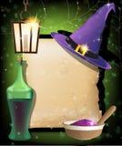 Accesorios de la magia de Víspera de Todos los Santos Fotografía de archivo libre de regalías