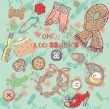 Accesorios de la mujer stock de ilustración