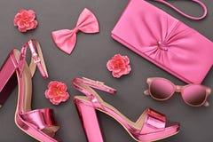 Accesorios de la mujer del diseño de la moda fijados Maquillaje del encanto Imagen de archivo