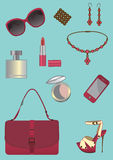 Accesorios de la mujer fijados. Foto de archivo