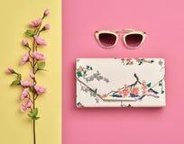 Accesorios de la mujer de la moda fijados Color en colores pastel rosado Imágenes de archivo libres de regalías