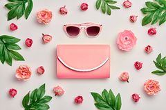 Accesorios de la mujer de la moda fijados Color en colores pastel rosado Imagen de archivo libre de regalías