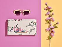 Accesorios de la mujer de la moda fijados Color en colores pastel rosado Imagen de archivo