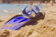 Accesorios de la natación de la playa del verano Fotografía de archivo
