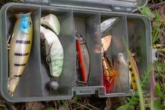 Accesorios de la pesca en una caja plástica fije de hilanderos y de señuelos fotos de archivo