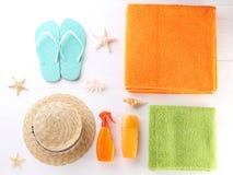 Accesorios de la playa Imágenes de archivo libres de regalías