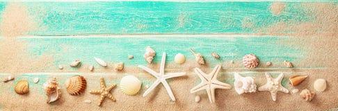Accesorios de la playa con las conchas marinas en el tablero de madera imagen de archivo libre de regalías