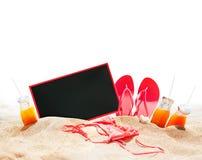 Accesorios de la playa de las vacaciones de verano blancos Fotografía de archivo libre de regalías