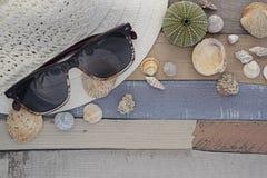 Accesorios de la playa en el tablero de madera Foto de archivo