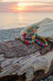Accesorios de la playa en Pebble Beach Fotografía de archivo libre de regalías