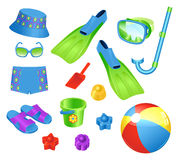 Accesorios de la playa para el muchacho Fotografía de archivo libre de regalías