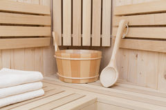 Accesorios de la sauna Imágenes de archivo libres de regalías