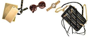 Accesorios de la señora del negocio de la bandera de la moda Mesa en línea de la tienda Foto de archivo libre de regalías