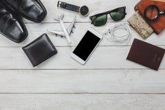 Accesorios de la visión superior a viajar concepto Foto de archivo libre de regalías