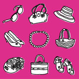 Accesorios de las muchachas fijados Imagen de archivo libre de regalías