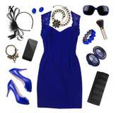 Accesorios de las mujeres de la moda del vestido de la primavera aislados en blanco Imágenes de archivo libres de regalías