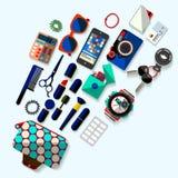 Accesorios de las mujeres Diseño plano Foto de archivo libre de regalías