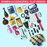 Accesorios de las mujeres Diseño plano Fotografía de archivo