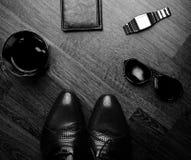 Accesorios de los hombres, aún vida Mirada del negocio Foto de archivo