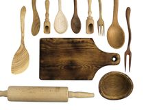 Accesorios de madera de la cocina en un fondo blanco Foto de archivo