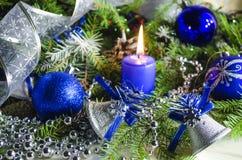 Accesorios del Año Nuevo y de la Navidad Imagen de archivo libre de regalías