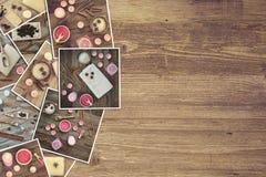 Accesorios del baño en un tablero de madera Fotos de archivo libres de regalías