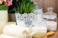 Accesorios del baño Items de la higiene personal Foto de archivo libre de regalías