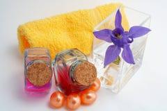 Accesorios del baño y productos de belleza Imagenes de archivo