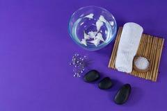 Accesorios del balneario en fondo púrpura Foto de archivo libre de regalías