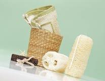 Accesorios del balneario, items del baño Foto de archivo