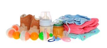 Accesorios del bebé, aislados. Imagen de archivo