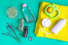 Accesorios del bebé con la lavanda para el cuarto de baño en fondo verde Imagen de archivo libre de regalías