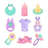 Accesorios del bebé fijados Diseño lindo, colores en colores pastel Foto de archivo libre de regalías