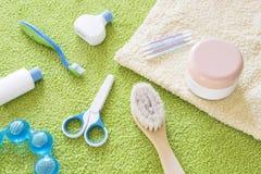 Accesorios del bebé para el cuarto de baño Fotografía de archivo libre de regalías