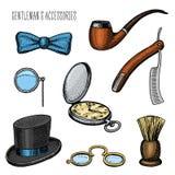 Accesorios del caballero inconformista u hombre de negocios, era del victorian mano grabada dibujada en viejo bosquejo del vintag ilustración del vector