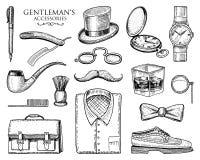 Accesorios del caballero inconformista u hombre de negocios, era del victorian vintage dibujado mano grabado abarcas, bigote, cam stock de ilustración