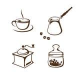 Accesorios del café fijados aislados en el fondo blanco Fotos de archivo