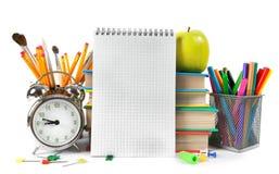 Accesorios del cuaderno y de la escuela Foto de archivo libre de regalías