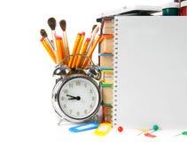 Accesorios del cuaderno y de la escuela Imágenes de archivo libres de regalías