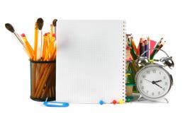 Accesorios del cuaderno y de la escuela Imagen de archivo libre de regalías