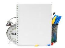 Accesorios del cuaderno y de la escuela Fotografía de archivo