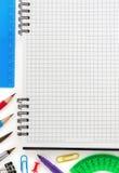 Accesorios del cuaderno y de la oficina Imágenes de archivo libres de regalías